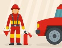 Sapeur-pompier avec le concept de voiture, style plat illustration de vecteur