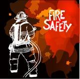 Sapeur-pompier avec un signe de tuyau illustration libre de droits