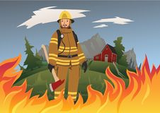 Sapeur-pompier avec une hache se tenant au beau milieu du feu Illustration de vecteur illustration de vecteur