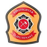 Sapeur-pompier Badge, emblème rendu 3d illustration de vecteur
