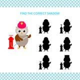 Sapeur-pompier de hibou de bande dessinée avec la bouche d'incendie Trouvez l'ombre correcte illustration de vecteur