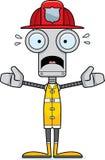 Sapeur-pompier effrayé par bande dessinée Robot illustration de vecteur