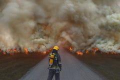 Sapeur-pompier essayant d'empêcher la diffusion de la catastrophe naturelle Photos stock