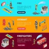 Sapeur-pompier et bâtiment sur la vue isométrique horizontale de l'ensemble 3d de bannière du feu Vecteur illustration de vecteur