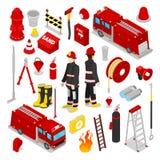 Sapeur-pompier isométrique Pompier avec le camion et l'équipement de réservoir illustration stock
