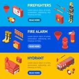 Sapeur-pompier Man et vue isométrique d'ensemble horizontal de bannière d'équipement Vecteur illustration libre de droits