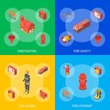 Sapeur-pompier Man et vue isométrique réglée de bannière d'équipement Vecteur illustration stock