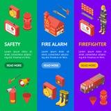 Sapeur-pompier Man et vue isométrique réglée de Vecrtical de bannière d'équipement Vecteur illustration stock