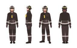 Sapeur-pompier ou pompier portant les vêtements ou l'uniforme protecteurs et casque d'isolement sur le fond blanc Bande dessinée  illustration libre de droits