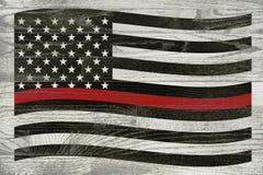 Sapeur-pompier Support Flag sur les conseils lavés par blanc illustration de vecteur
