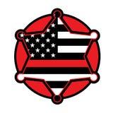 Sapeur-pompier Support Star et emblème de drapeau illustration libre de droits