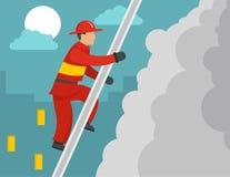 Sapeur-pompier sur le concept d'escaliers, style plat illustration stock