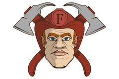 Sapeur-pompier tiré par la main Concept professionnel de lutte anti-incendie sauveteur Tête de sapeur-pompier dans un casque roug illustration stock
