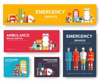 Sapeur-pompier, transportant par radeau, police, ensemble de calibre de cartes de délivrance de médecine Icône plate de conceptio illustration de vecteur