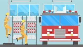 Sapeurs-pompiers à la station illustration libre de droits