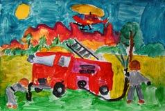 Sapeurs-pompiers au travail peint par l'enfant images libres de droits