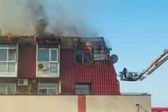 Sapeurs-pompiers dans l'action Images libres de droits