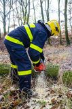 Sapeurs-pompiers dans l'action après une tempête venteuse Photographie stock