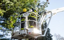 Sapeurs-pompiers dans l'action après une tempête venteuse Image stock