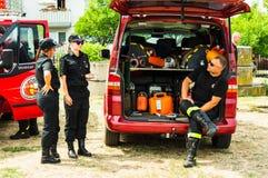Sapeurs-pompiers et fourgon image libre de droits