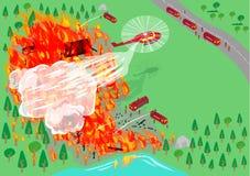 Sapeurs-pompiers par l'intermédiaire des dispernses d'air et de transport terrestre Clipart (images graphiques) Editable illustration libre de droits