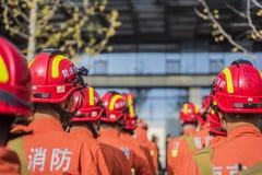 Sapeurs-pompiers rayés images stock