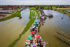 Saphan Khong Floating Market,Song Phi Nong District,Suphanburi,Thailand on December 15,2018:Bird`s-eye view of the market seen fro royalty free stock image