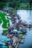 Saphan Khong Floating Market,Song Phi Nong District,Suphanburi,Thailand on December 15,2018:Bird`s-eye view of the market seen fro. Saphan Khong Floating Market royalty free stock images