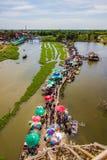 Saphan Khong Floating Market,Song Phi Nong District,Suphanburi,Thailand on December 15,2018:Bird`s-eye view of the market seen fro. Saphan Khong Floating Market royalty free stock image