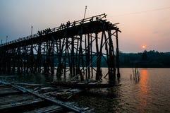 Saphan Mon Broken at sunset time in Sangkhlaburi Kanchanaburi Stock Image