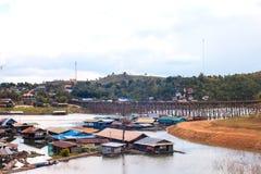 Saphan Mon or Mon Bridge, the longest handmade wooden bridge in Thailand. Stock Images