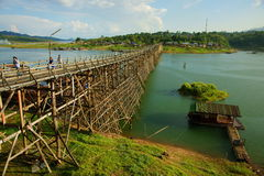 Saphan mon wooden bridge Royalty Free Stock Image