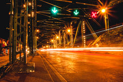 Saphan Phut Memorial Bridge Night Scene of Bangkok Landmark. Royalty Free Stock Photo