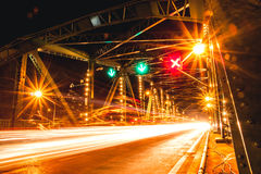 Saphan Phut Memorial Bridge - Night Scene Bridge light tail Thailand Bangkok Landmark. Royalty Free Stock Photos