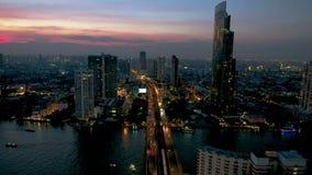 Saphan Taksin Bridge in Bangkok.Thailand. Aerial view of River with Saphan Taksin Bridge in Bangkok.Thailand stock footage