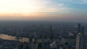 Saphan Taksin Bridge in Bangkok.Thailand. Aerial view of River with Saphan Taksin Bridge in Bangkok.Thailand stock video footage