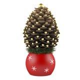 Sapin de cône de pin de Noël décoré d'isolement Image stock