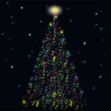 Sapin de fête des étoiles Image stock