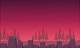 Sapin et roche rouges de paysage d'horizon Photos libres de droits