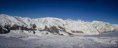 Sapins dans l'horaire d'hiver dans les Alpes Images libres de droits