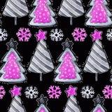 Sapins de bande dessinée, flocons de neige Modèle sans couture de salutation d'aquarelle neuf illustration stock