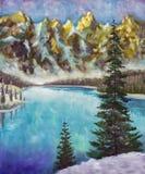 Sapins verts sur le lac vert de mer dans la texture de peinture à l'huile de montagnes sur la toile illustration libre de droits