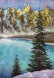 Sapins verts sur le lac vert de mer dans la texture de peinture à l'huile de montagnes sur la toile illustration stock
