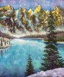 Sapins verts sur le lac vert de mer dans la texture de peinture à l'huile de montagnes sur la toile illustration de vecteur