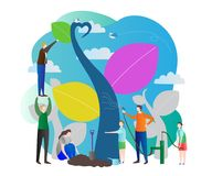 Sapling vector illustration with nurturing nature, world ecology care for green future of the planet earth.Group of people working. Sapling process modern vector royalty free illustration