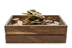Sapo de Netsuke en el montón de monedas Imágenes de archivo libres de regalías