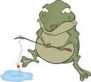 Sapo el pescador. Historieta ilustración del vector