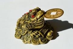 Sapo Threelegged con la moneda Feng Shui Fotos de archivo libres de regalías