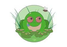 Sapo verde en la hierba stock de ilustración
