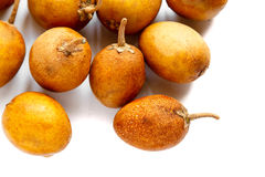 Sapodilla fruit on white background. Stock Photos